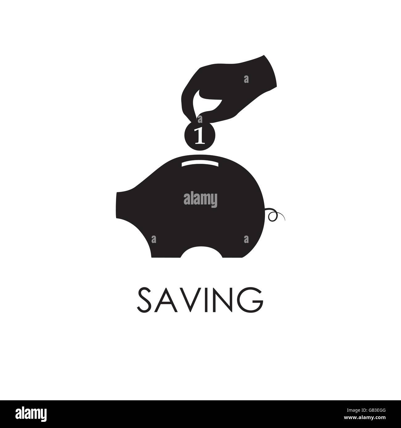 Hand, eine Münze zu Sparschwein. Geld und finanzielle Einsparung Logo. Stockbild