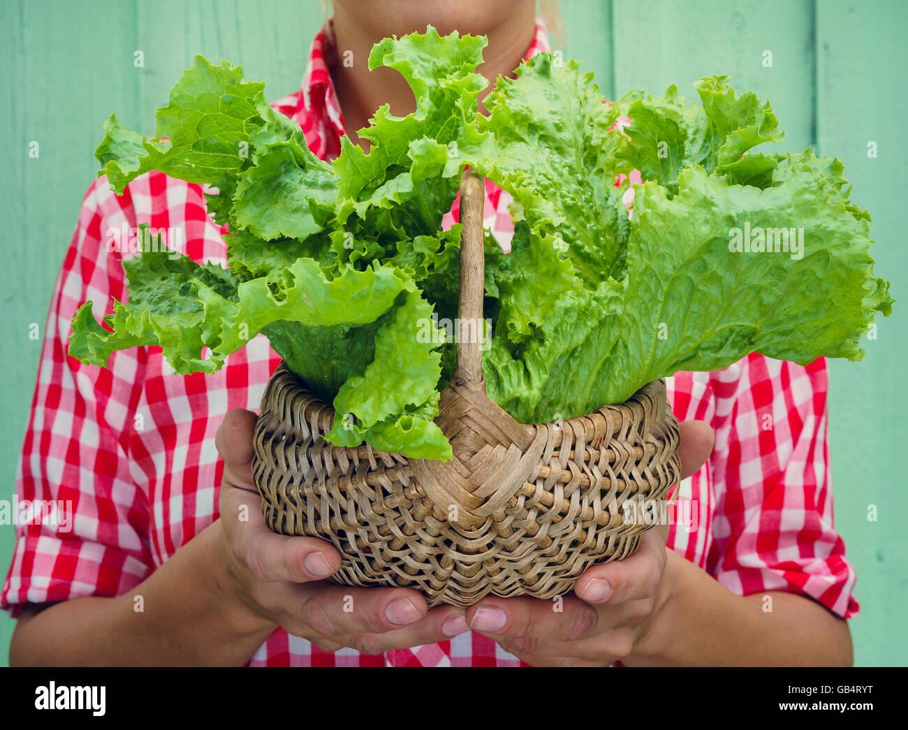 b335c2fe8d2e0a Blonde Mädchen auf Türkis Hintergrund hält Korb mit Salat. Rockabilly-Style.  Platz für