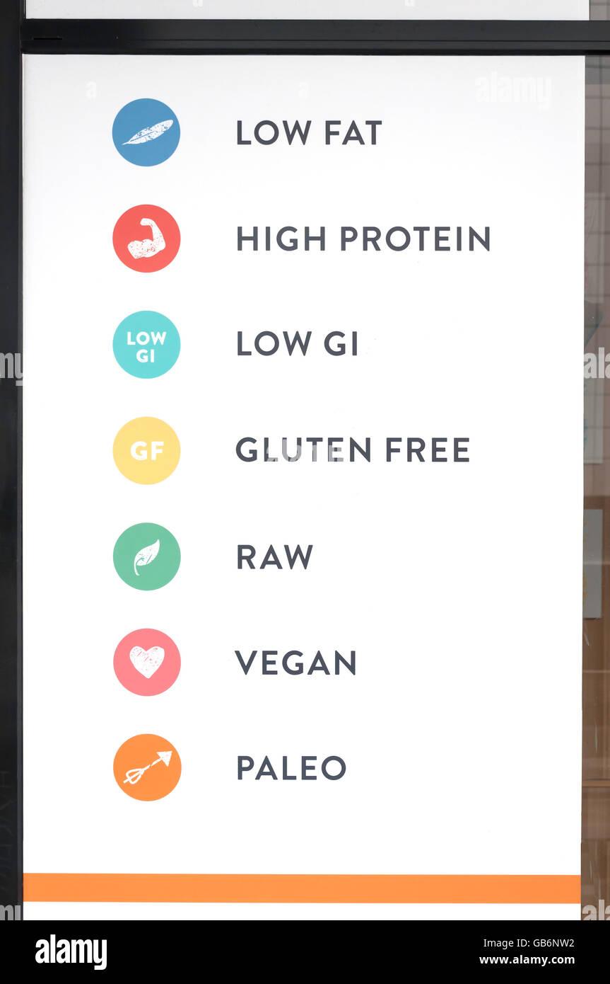 Gluten-freie, Vegan, niedrigen Fett usw. Melden Sie außen Restaurant, Brisbane, Queensland, Australien Stockbild