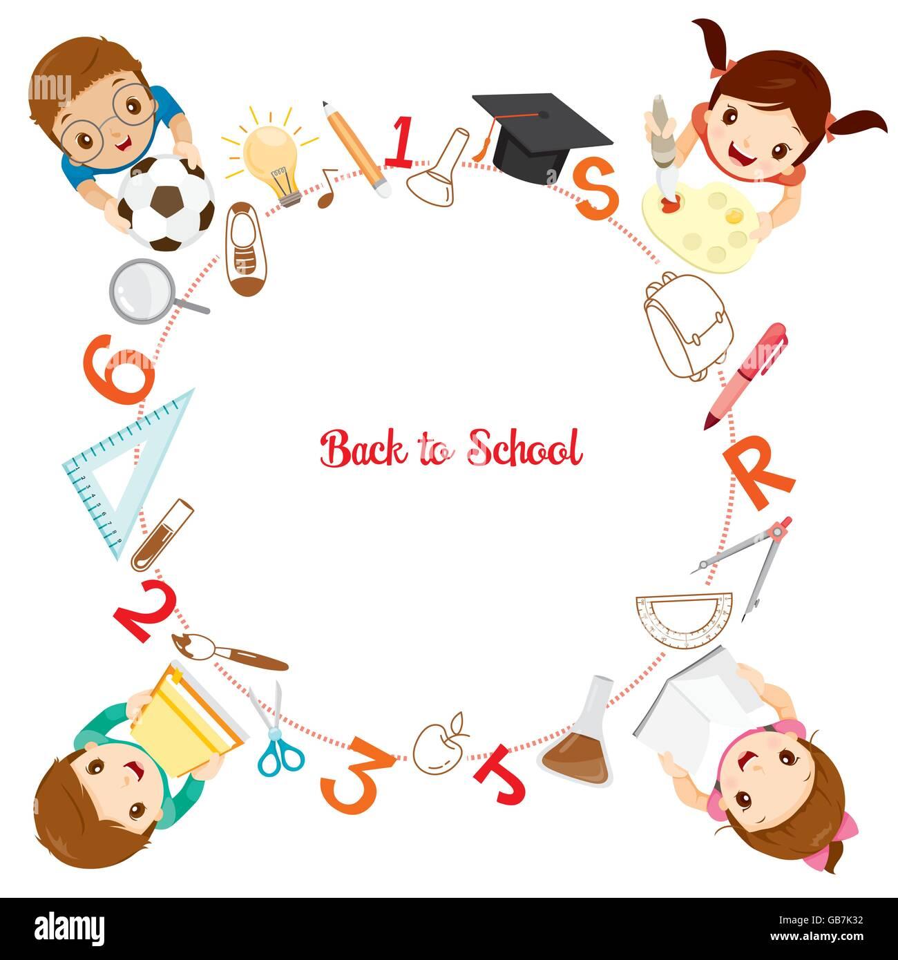 Kinder mit School Supplies Symbole auf Kreis Rahmen, zurück zu ...