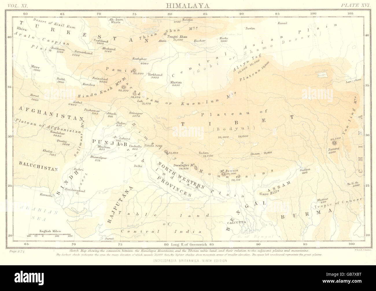 Himalaya Berge Karte.Himalaya Berge Tibet China Indien Afghanistan Pakistan