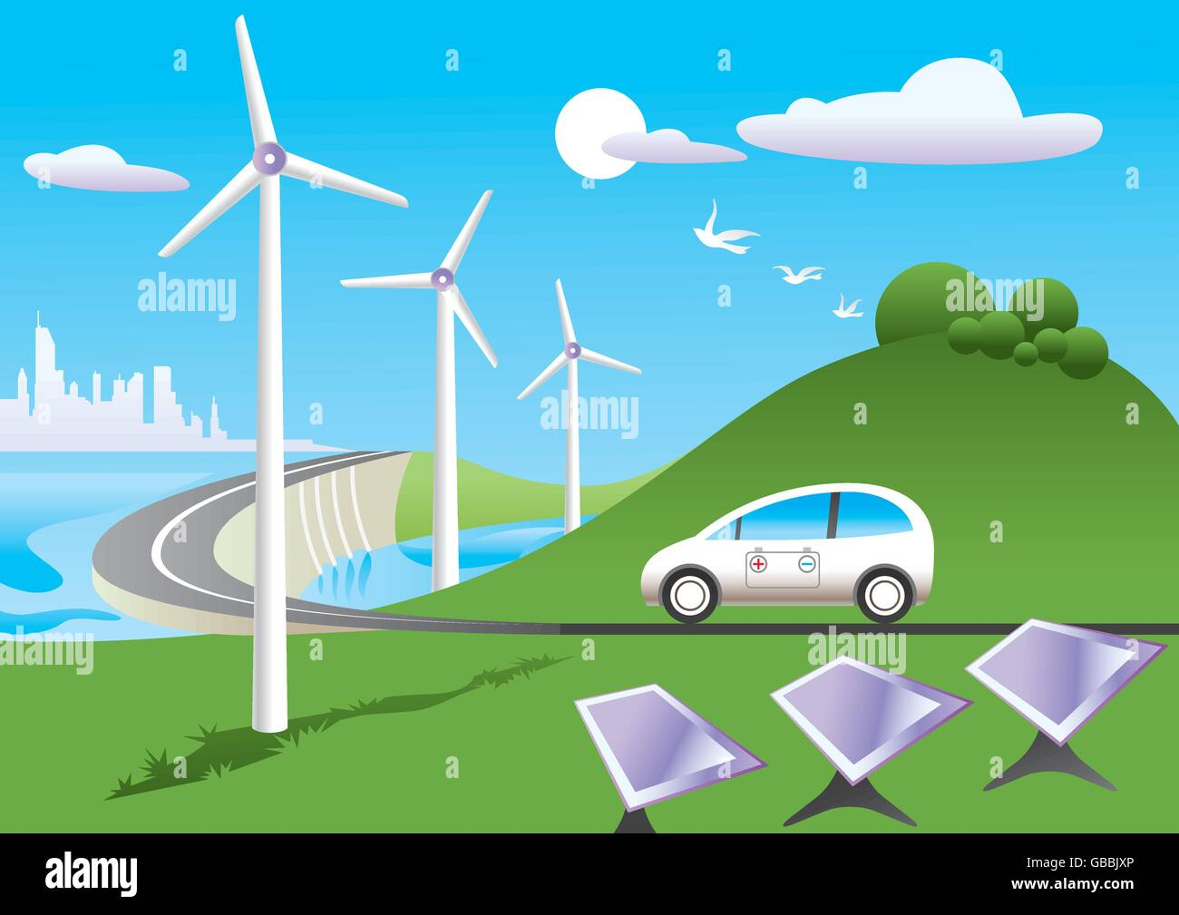 Grünes Auto reist unter grüne Energiequellen - Vektor-illustration Stockbild