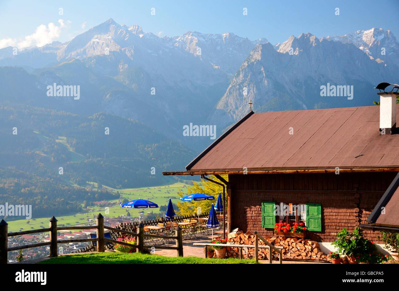 Berghütte, Berggasthaus, Grasberg, Garmisch-Partenkirchen, Loisach-Tal, Bayern, Deutschland / Zugspitzlands, Stockbild