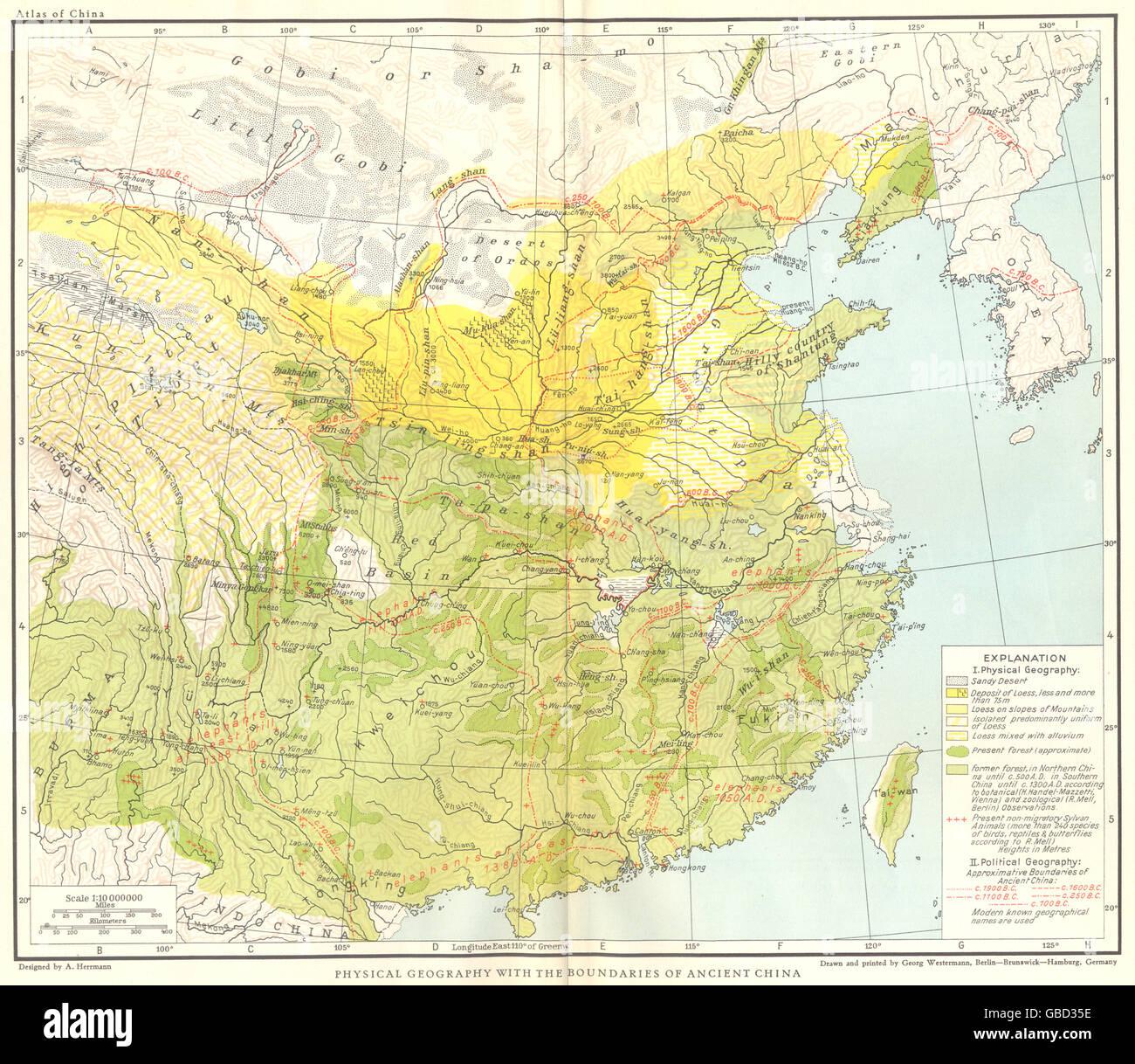 China Karte Physisch.China Physische Geographie Mit Den Grenzen Des Alten China Karte