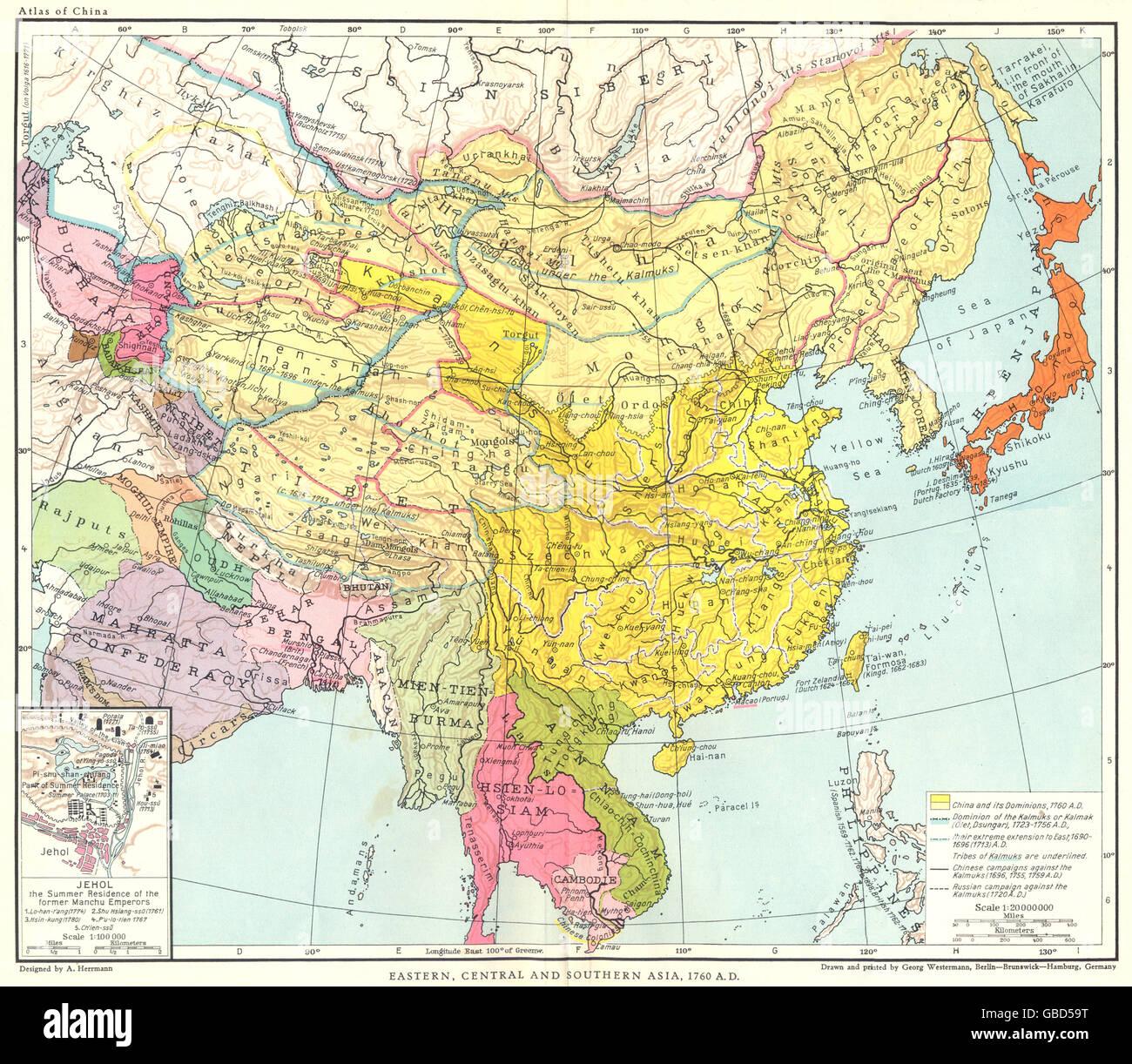 Südasien Karte.Asien East Central Südasien 1760 Ad Inset Jehol 1935 Vintage