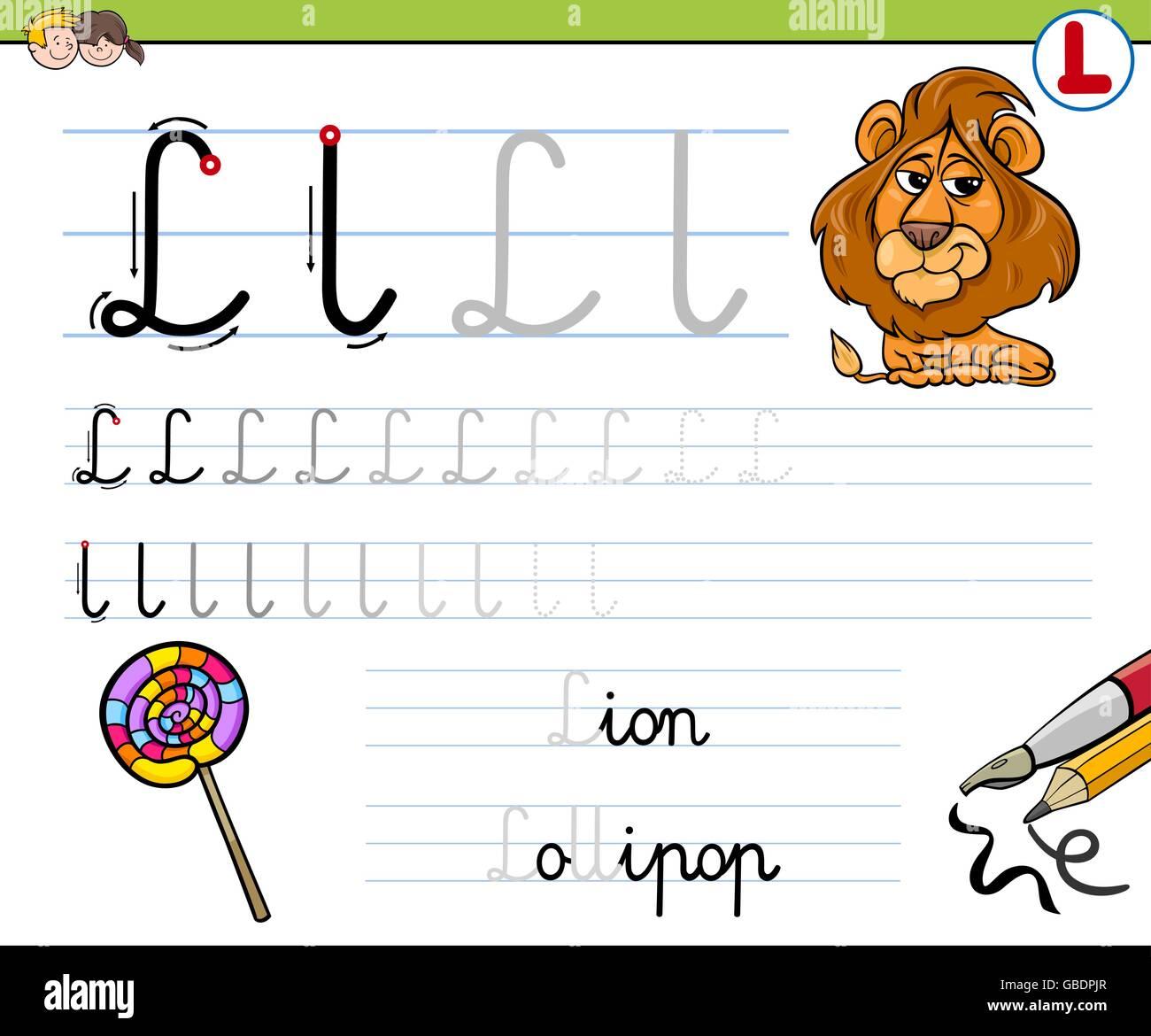 Cartoon Illustration Fähigkeiten Praxis mit Buchstabe L Arbeitsblatt ...
