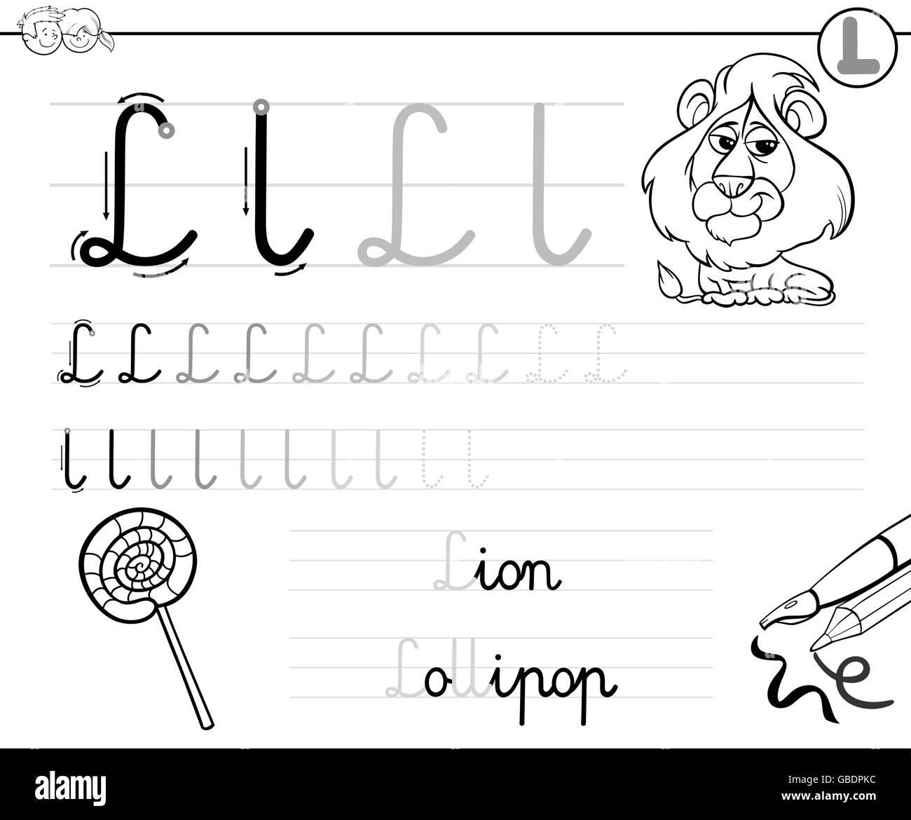 Schwarz / Weiß Cartoon Illustration des Schreibens Fähigkeiten ...