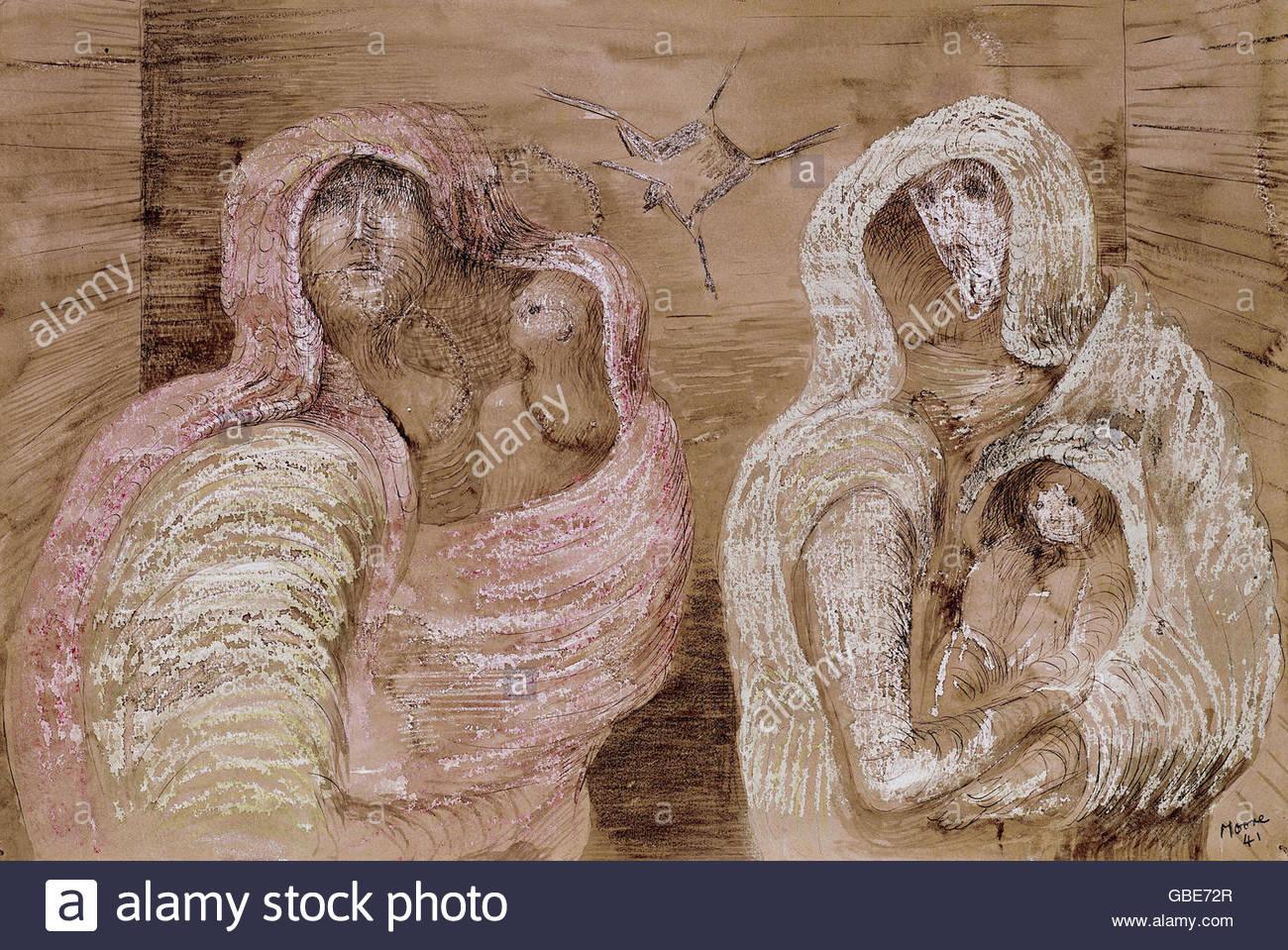 Bildende Kunst, Moore, Henry (1898 ? 1986), Grafik, 'Shelter Szene', ca. 1941, private Vollection, Swuitzerland, Stockbild