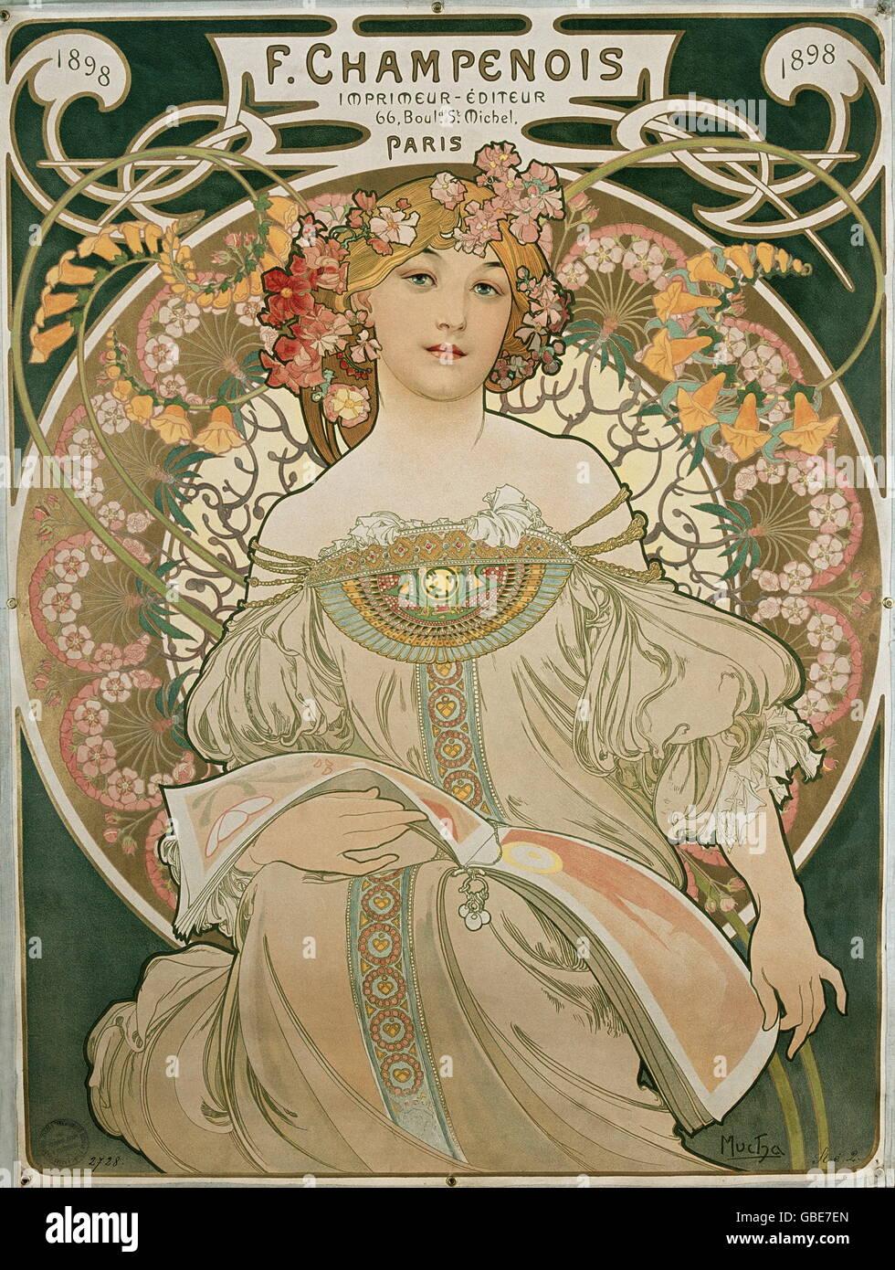 Bildende Kunst, Mucha, Alphonse (24.8.1860 - 14.7.1939), farbige Lithographie, 'Träumerei', 1897 Stockfoto