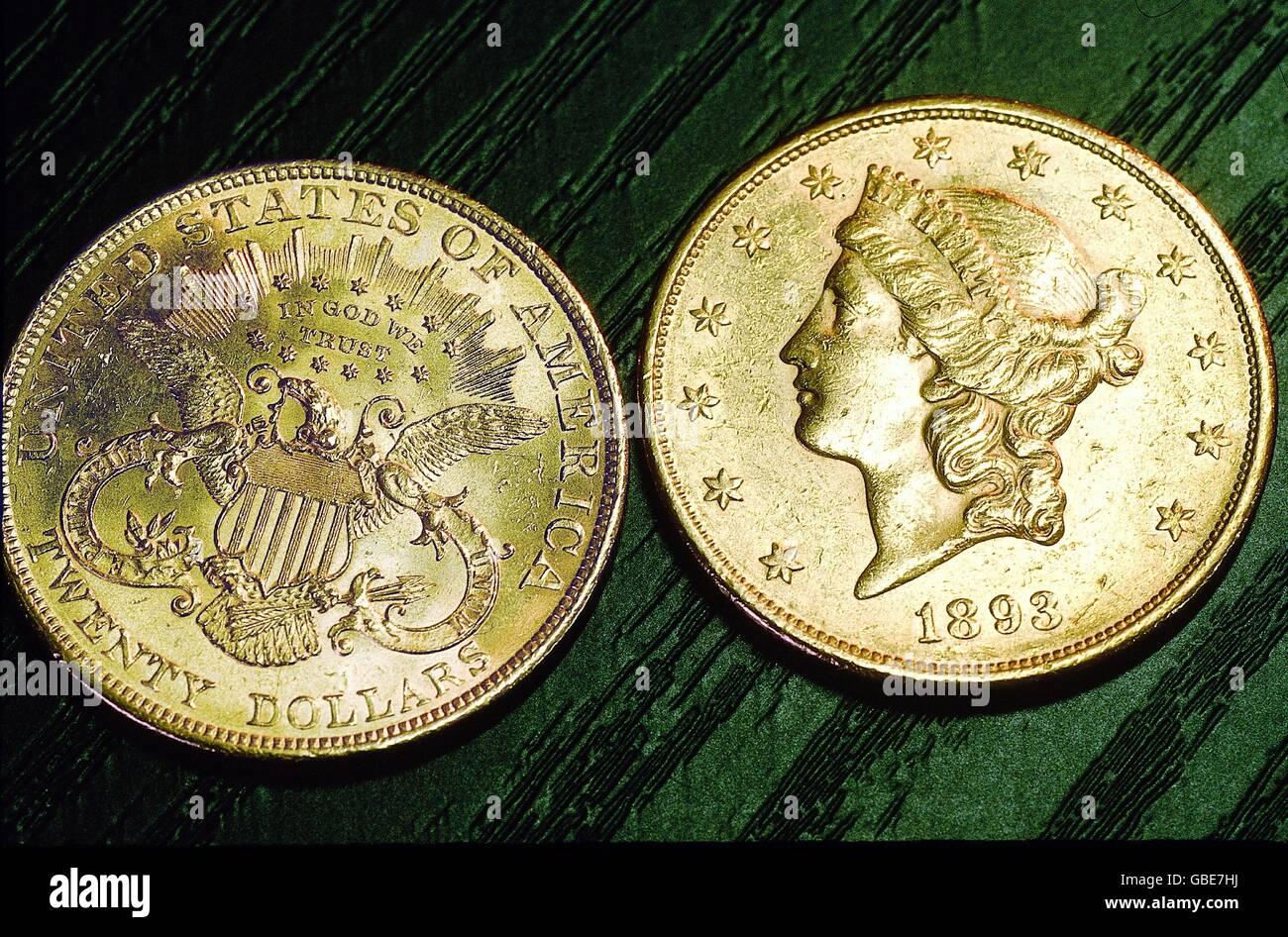 Geldfinanzen Münzen Usa 20 Dollar Goldmünze Double Eagle 1893