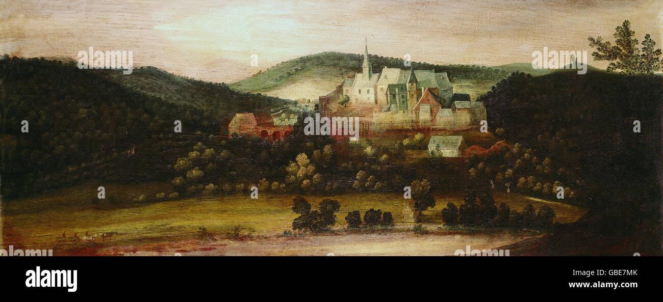 Architektur, Burgen, Schloss Naumburg, Malerei, Maler unbekannt, Geographie, Deutschland, Panorama, Panorama, Stadtbild, Stockbild