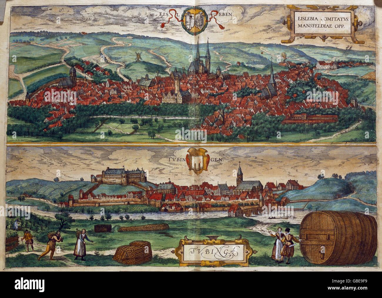 """Geographie/Reisen, Deutschland, Eisleben und Tübingen, Holzschnitt, farbig, von der Stadt taedteatlas"""" Stockbild"""