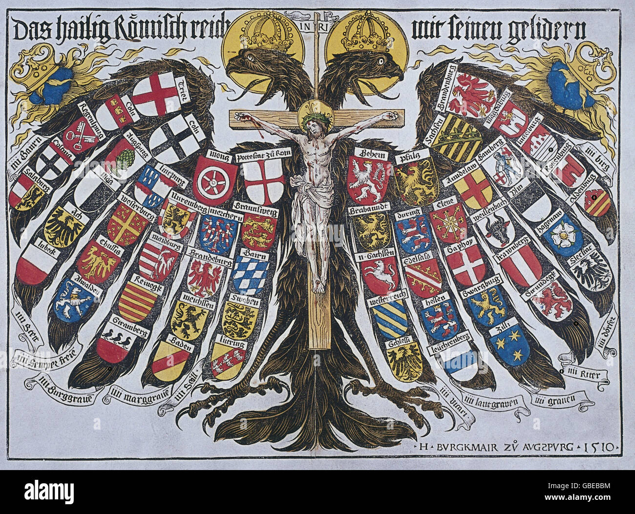 heraldik wappen waffen heiliges r misches reich reichsadler mit dem wappen des territoriums. Black Bedroom Furniture Sets. Home Design Ideas