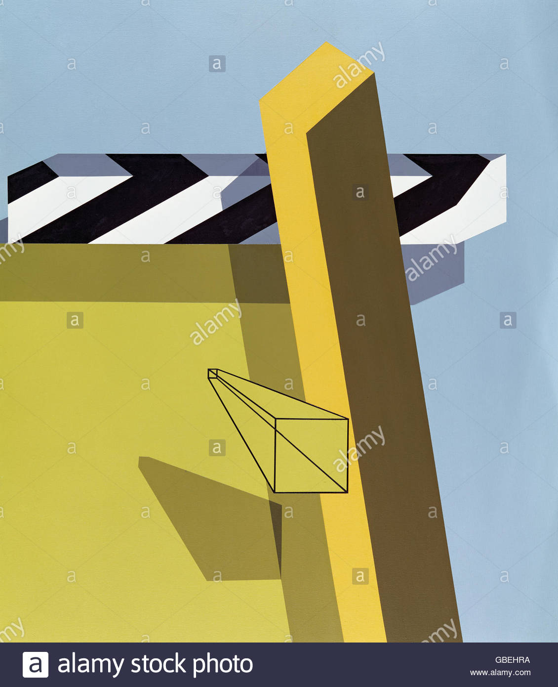 "Bildende Kunst, d ' Arcangelo, Allan, (1930-1998), Malerei, ""Landschaft"", 1968, Suermondt Museum, Stockbild"