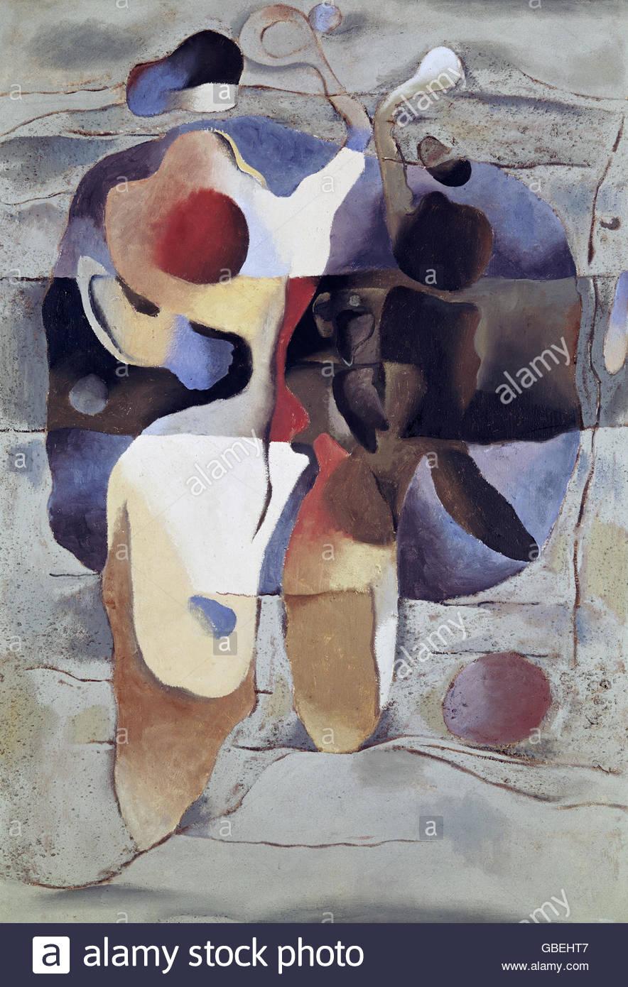 """Bildende Kunst, Baumeister, Willi (1889 ? 1955), Malerei, """"Tennisspieler"""", (""""Tennisspieler""""), Stockbild"""