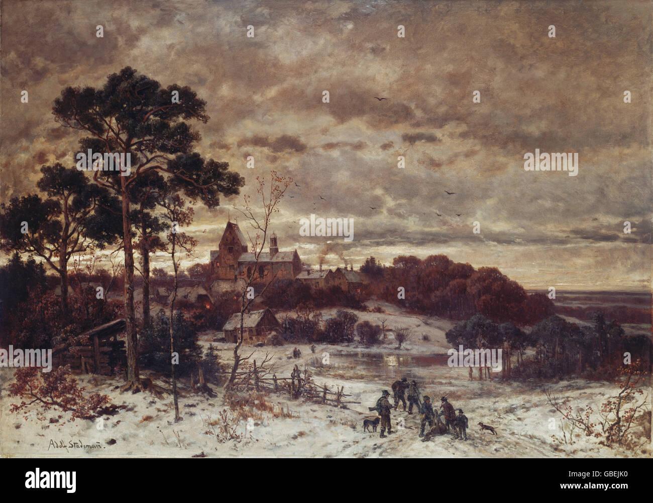 """Bildende Kunst, Stademann, Adolf (1824-1895), """"Schloss Kalkberg"""", München, Meiserstrasse Depot, Malerei Stockbild"""