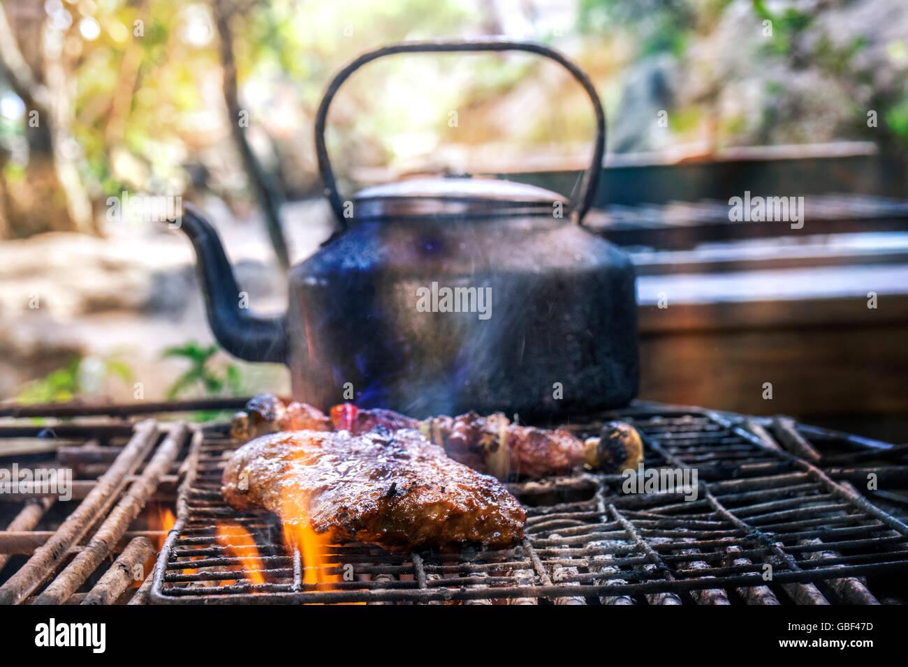 Spareribs På Gasgrill : Südafrikanische grill outdoor küche mit spareribs und fleisch