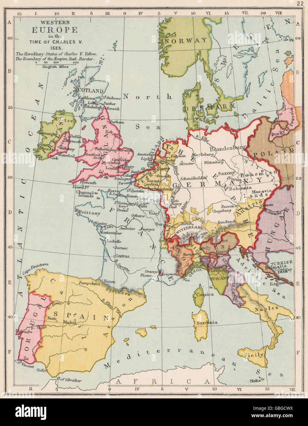 Heiligen Römischen Reiches 1525: Westeuropa in der Zeit von Charles V, 1907 alte Karte Stockbild