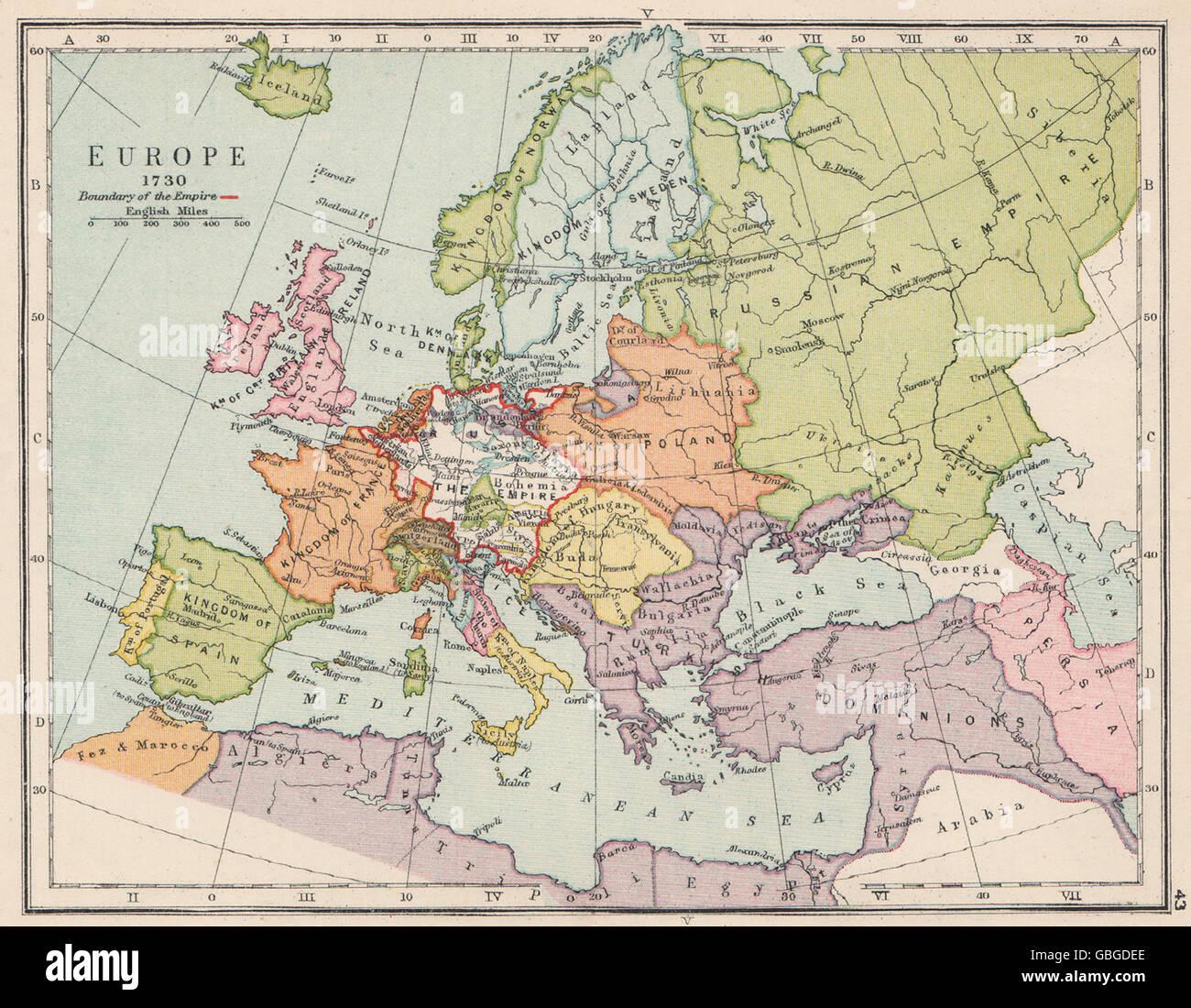 Heiliges Römisches Reich Karte.Europa Im Jahre 1730 Heiliges Römisches Reich Polen Litauen