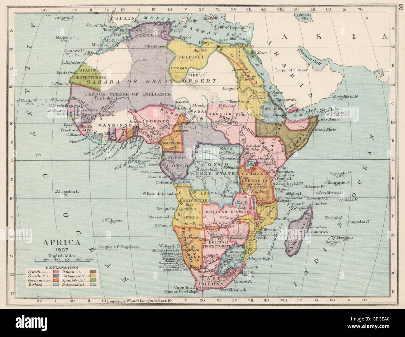 Karte Afrika Kolonien.Kolonialen Afrika 1897 Zeigt Kolonien Einflussspharen