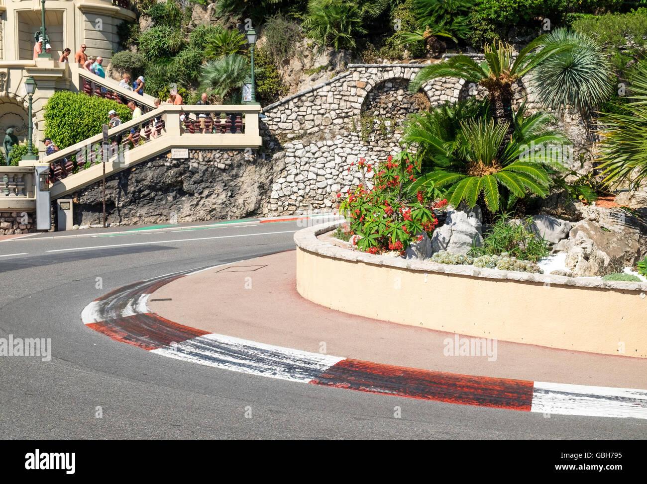Der berühmte Fairmont kehre auf der Formel 1 Grand Prix Strecke in Monte Carlo, Monaco Stockbild