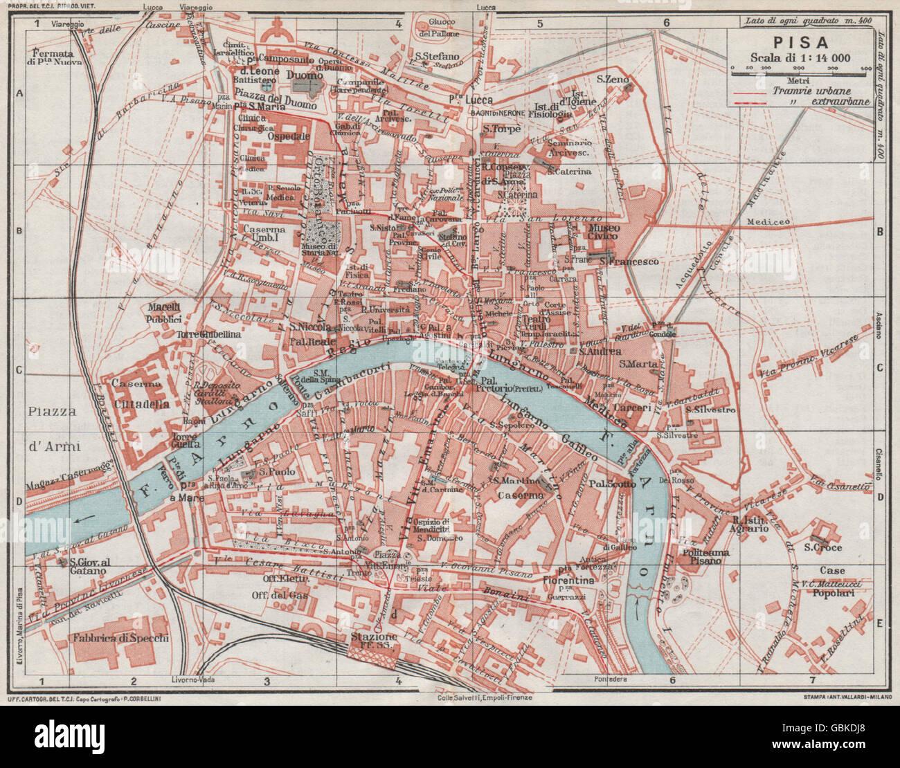 Pisa Karte.Pisa Karte Stadtplan Vintage Stadt Italien 1924 Stockfoto Bild