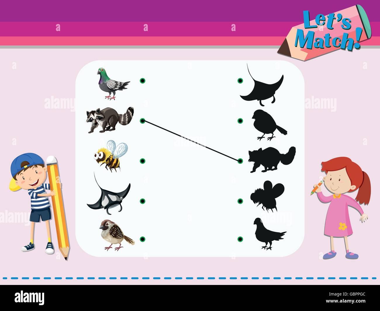Passende Spiel Vorlage mit Tieren illustration Vektor Abbildung ...