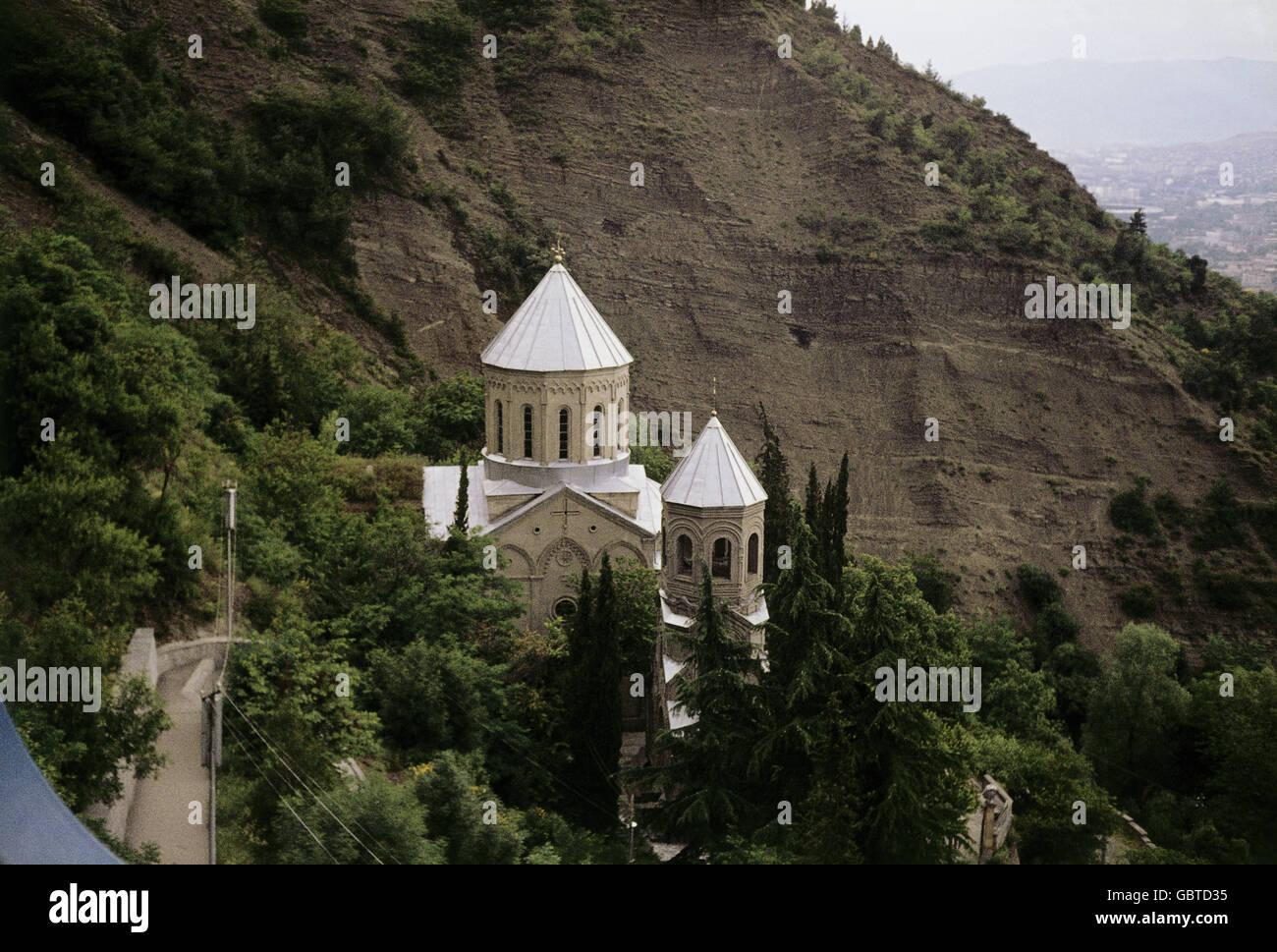Geographie/Reisen, Russland, Georgien, Tiflis, Ansicht mit St. David's Kirche und Mtatsminda Pantheon, 1977, Stockbild