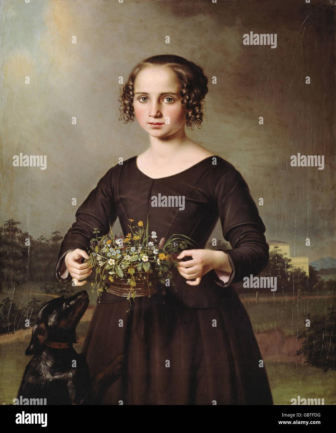 """Bildende Kunst, Rayski, Ferdinand Louis von (23.10.1806 - 23.10.1890), Malerei """"Bild eines Mädchens"""", Stockbild"""