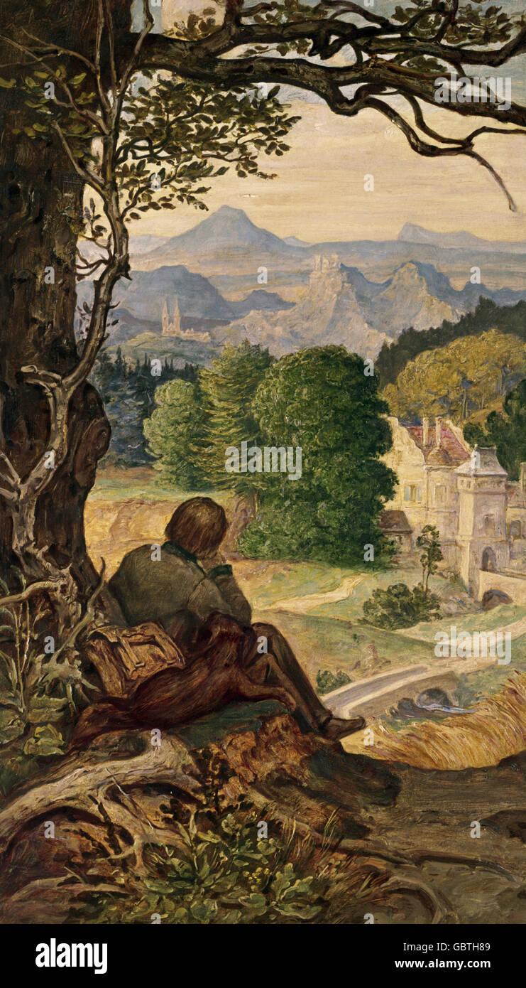 """Bildende Kunst, Schwind, Moritz von (1804-1871), Malerei, """"auf Wanderschaft"""" (""""Auf Wanderschaft""""), Stockbild"""