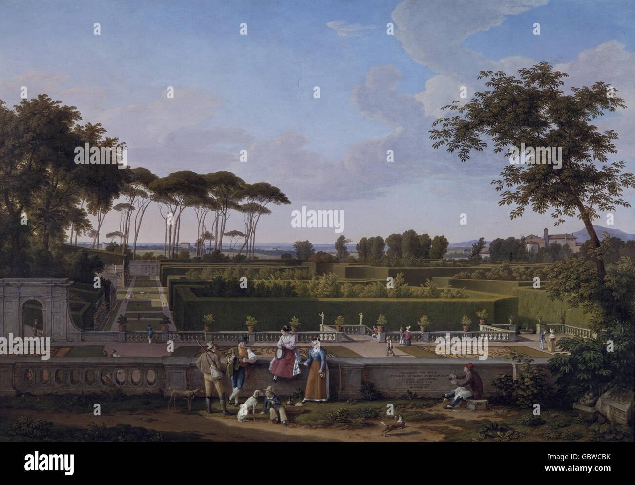 "Bildende Kunst, Reinhard, JOhann Christian (1761 ? 1847), Malerei ""Villa Doria Pamphilj"", 1832, Museum Stockbild"
