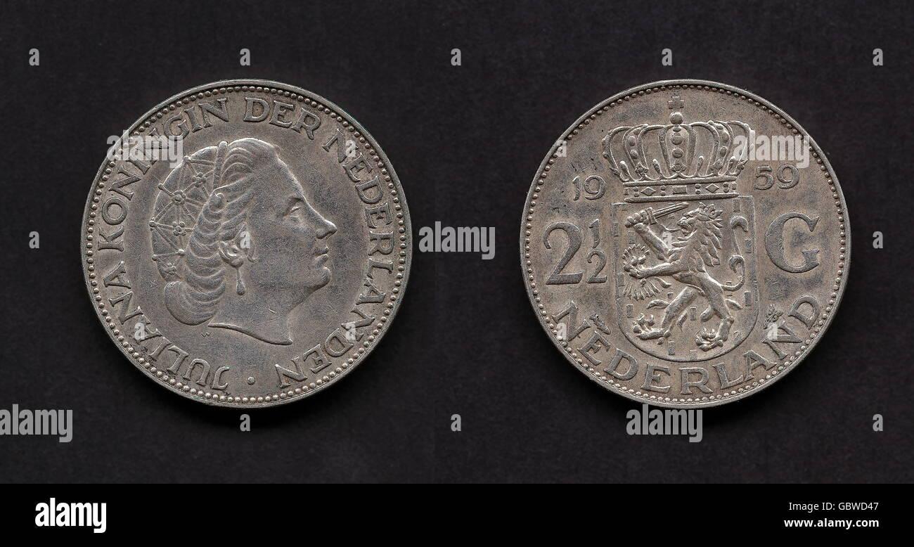 Münzen Niederlande 2 12 Gulden Münzen Silber 1959 Mantel