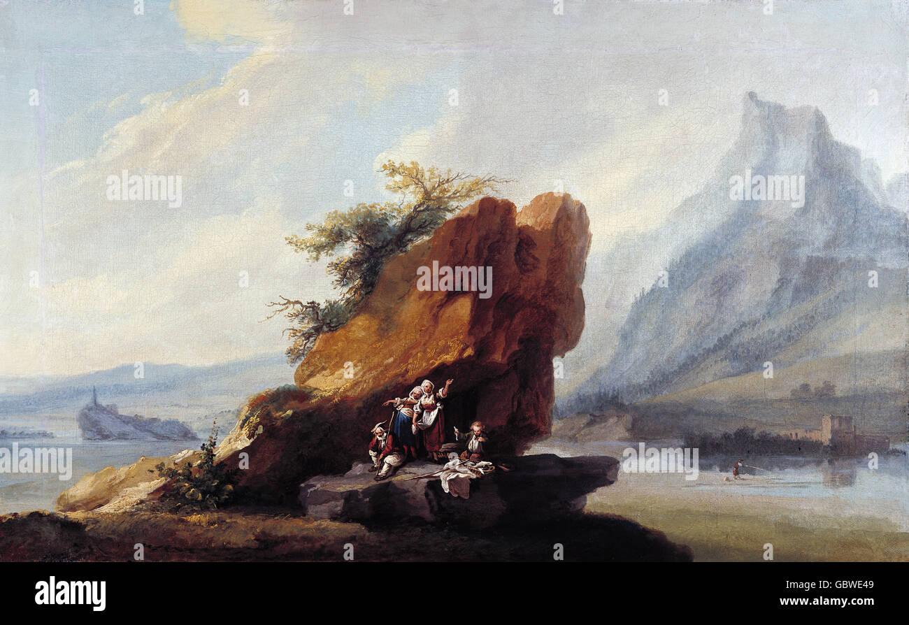 """Bildende Kunst, Wolff, Caspar (1735-1783), Malerei, """"Vierwaldstätter See in der Nähe von Stanstad"""", Stockbild"""