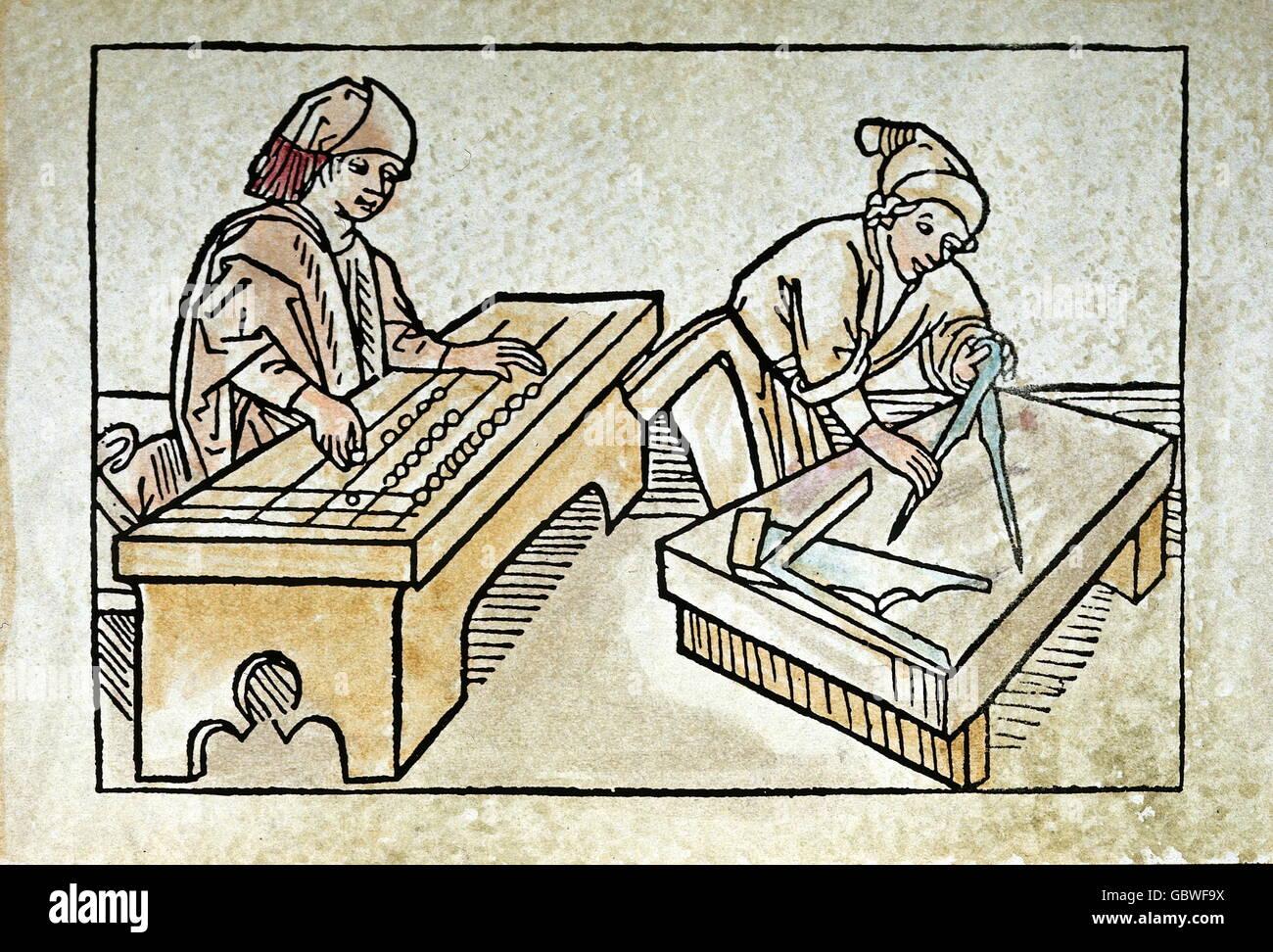 Menschen, Berufe, Baumeister mit Abacus und Steinmetz bei der Arbeit, Holzschnitt, farbig, von Rodericus (Sancius Stockbild