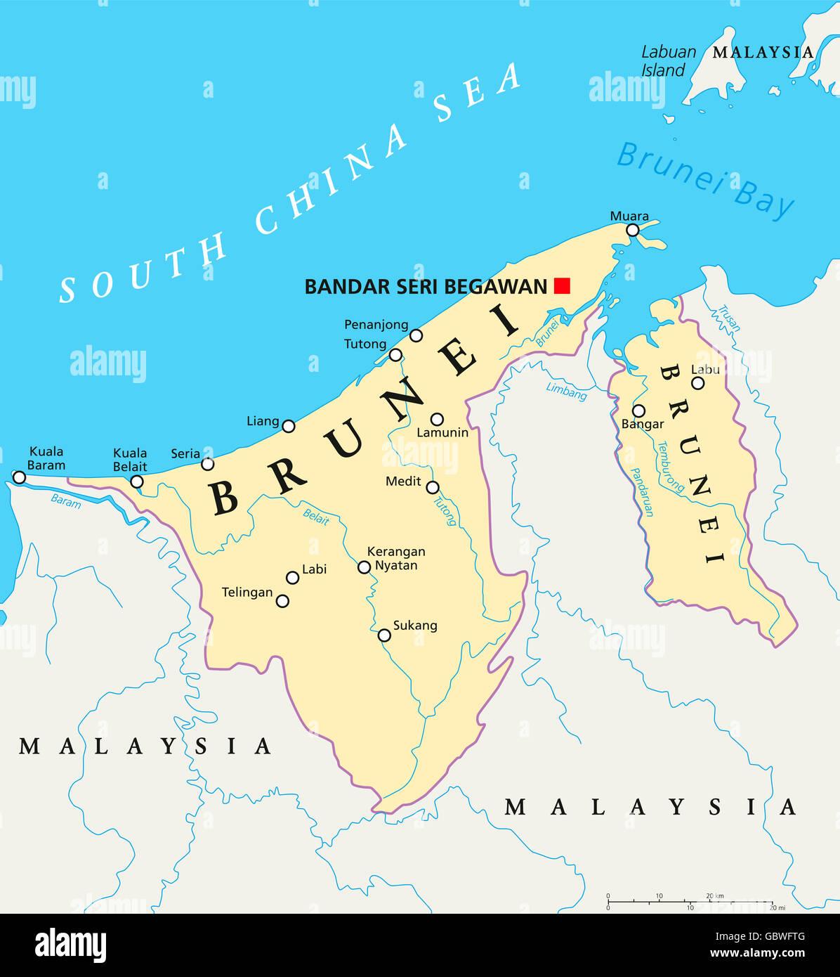 Brunei Politische Karte Mit Hauptstadt Bandar Seri Begawan Landergrenzen Stadte Und Flusse Stockfotografie Alamy