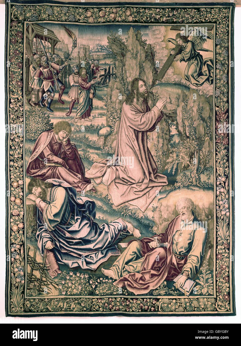 "Bildende Kunst, Teppich, Textilien, Tapisserie ""Christus am Ölberg"", Brüssel, 16. Jahrhundert, Stockbild"