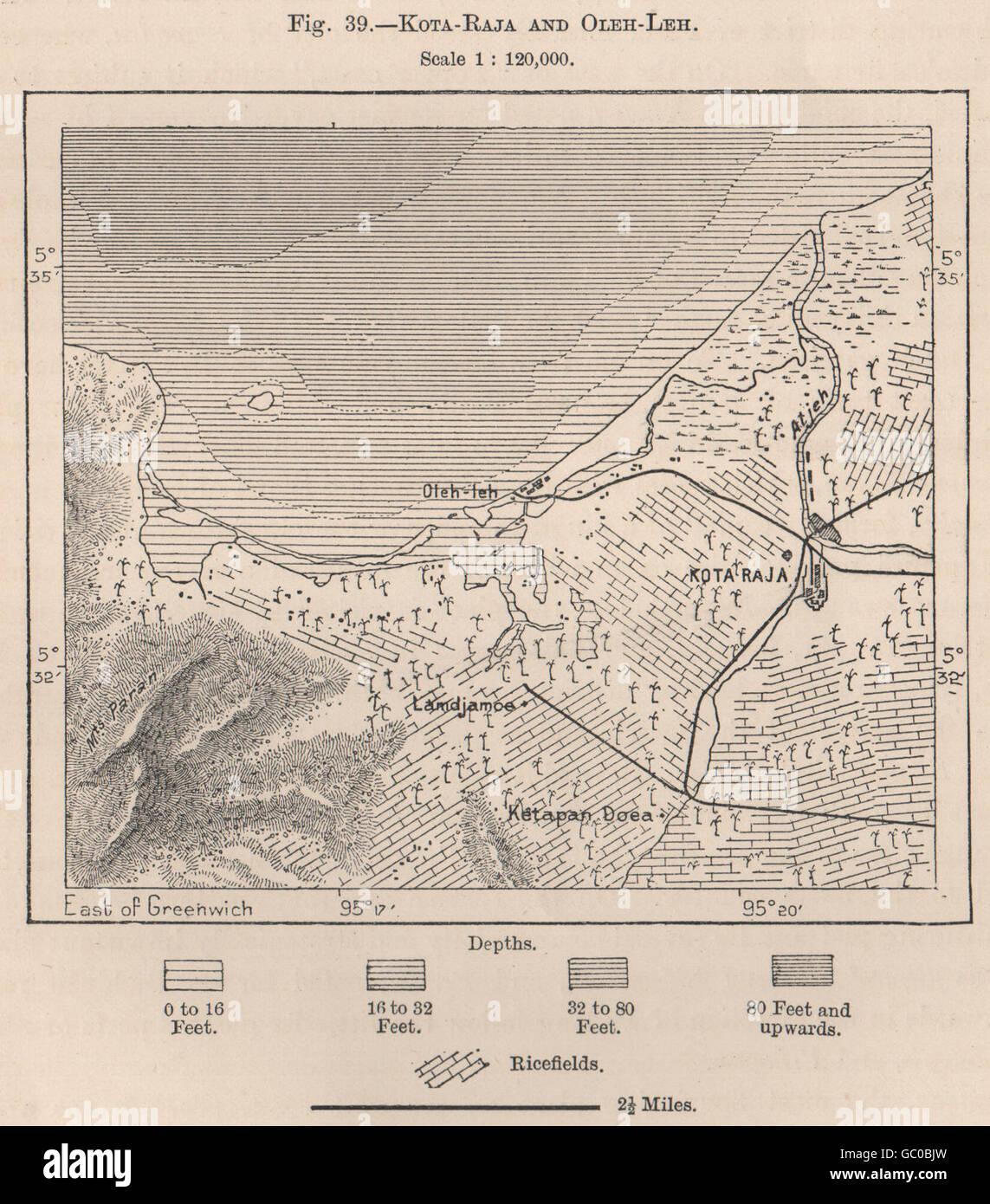 Kutaraja (Banda Aceh) & Oleelheue. Sumatra, Indonesien. Ostindien, 1885-Karte Stockfoto