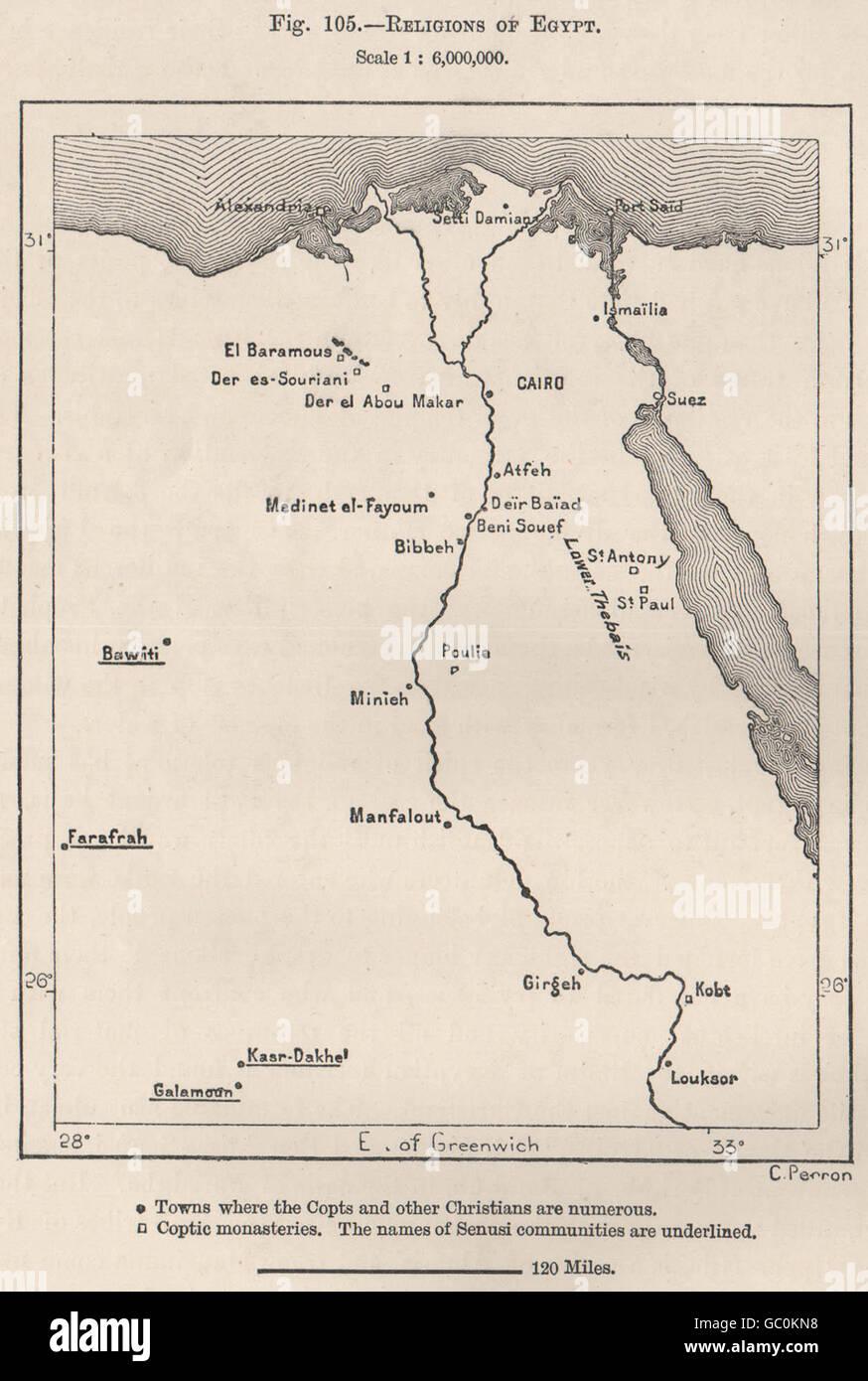 Religionen von Ägypten, Antike Landkarte von 1885 Stockbild