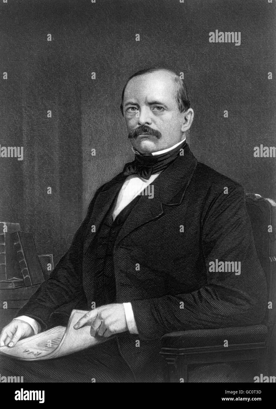 Otto von Bismarck. Porträt des preußischen Staatsmannes, Stahlstich nach Gemälde von Alonzo Chappel, Stockbild