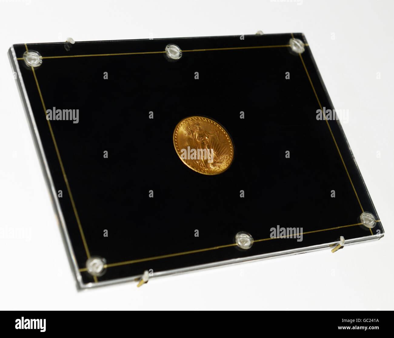 Double Eagle gold Münze, 1933. Die weltweit wertvollste Goldmünze. Siehe Beschreibung Stockbild