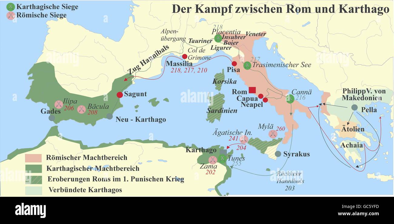 karthago karte Kartographie, historische Karten, Antike, der Kampf zwischen Rom