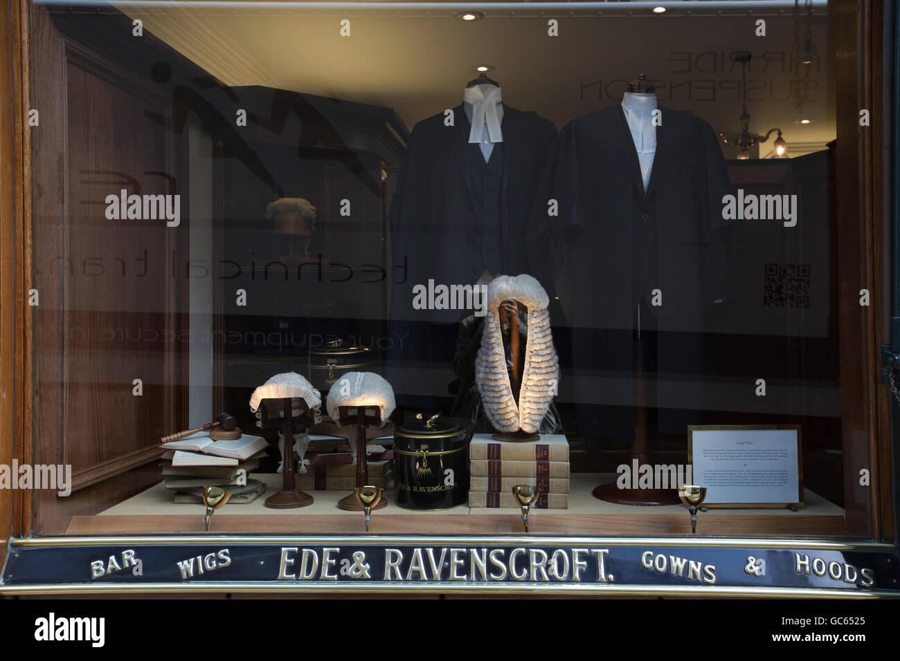 Ede & Ravenscroft, Kleidung schneidern und Gewand Entscheidungsträger für die Anwaltschaft, Chancery Stockbild