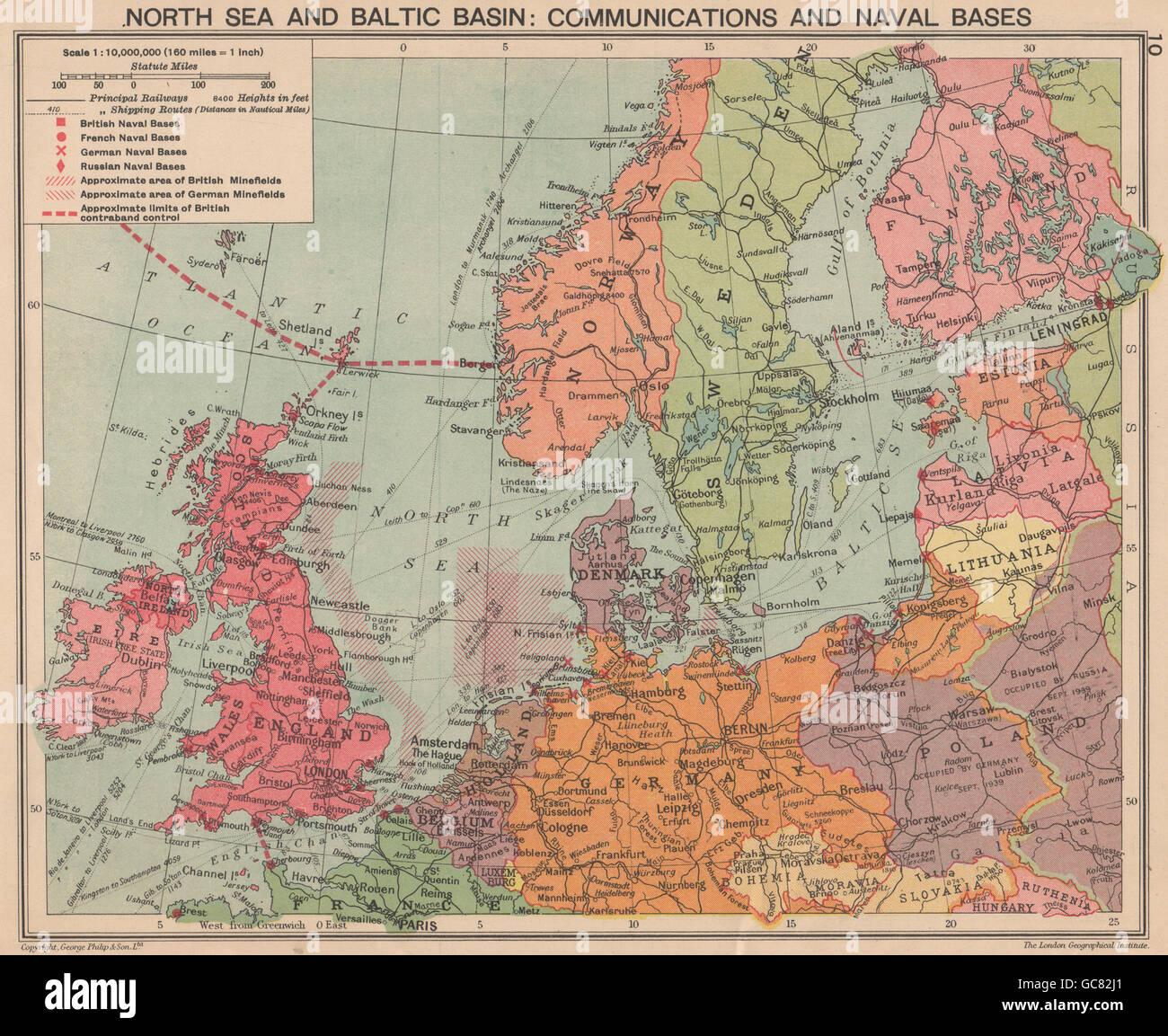 ZWEITEN WELTKRIEG. Nordsee & Ostsee. Minenfelder & Marinestützpunkte ...