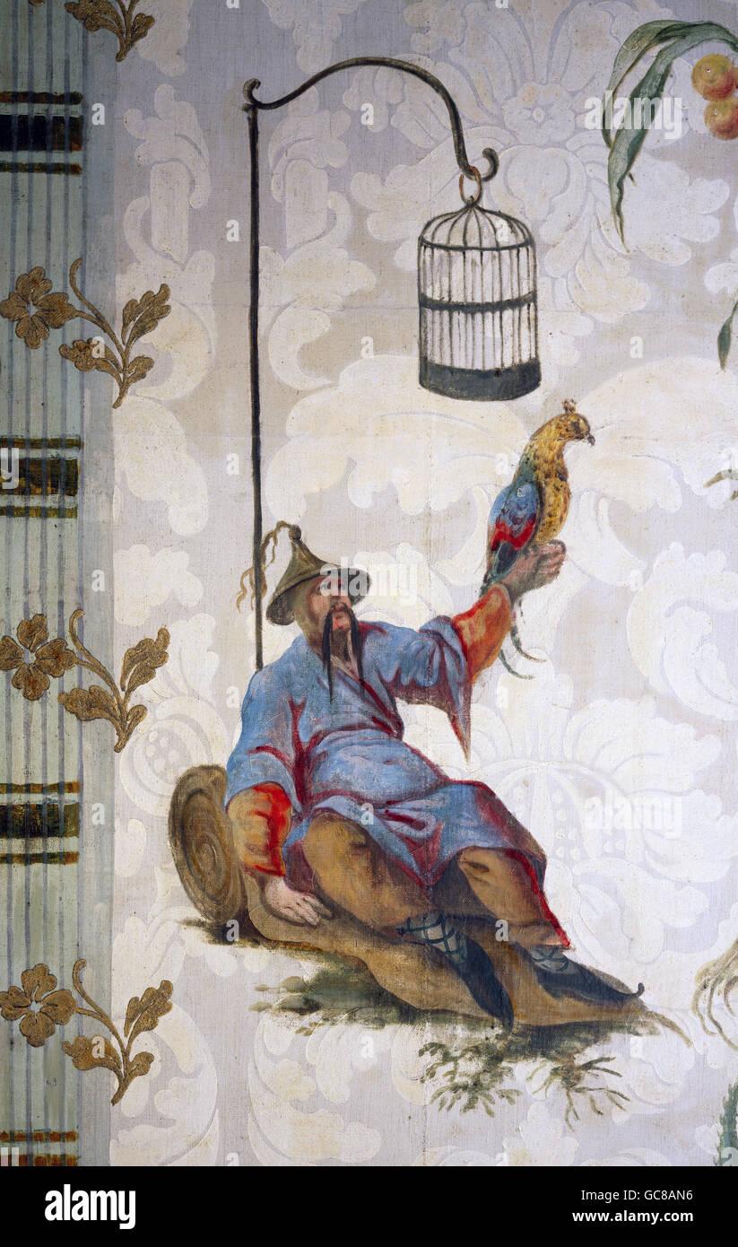 Bildende Kunst, Tapete, Chinoiserie, Sitzen Chinesen Mit Vogel, Malerei Im  Stil Der Esias Nilson, Print, Deutschland, Spätes 18. Jh.,  Stadt Museum Memmingen ...