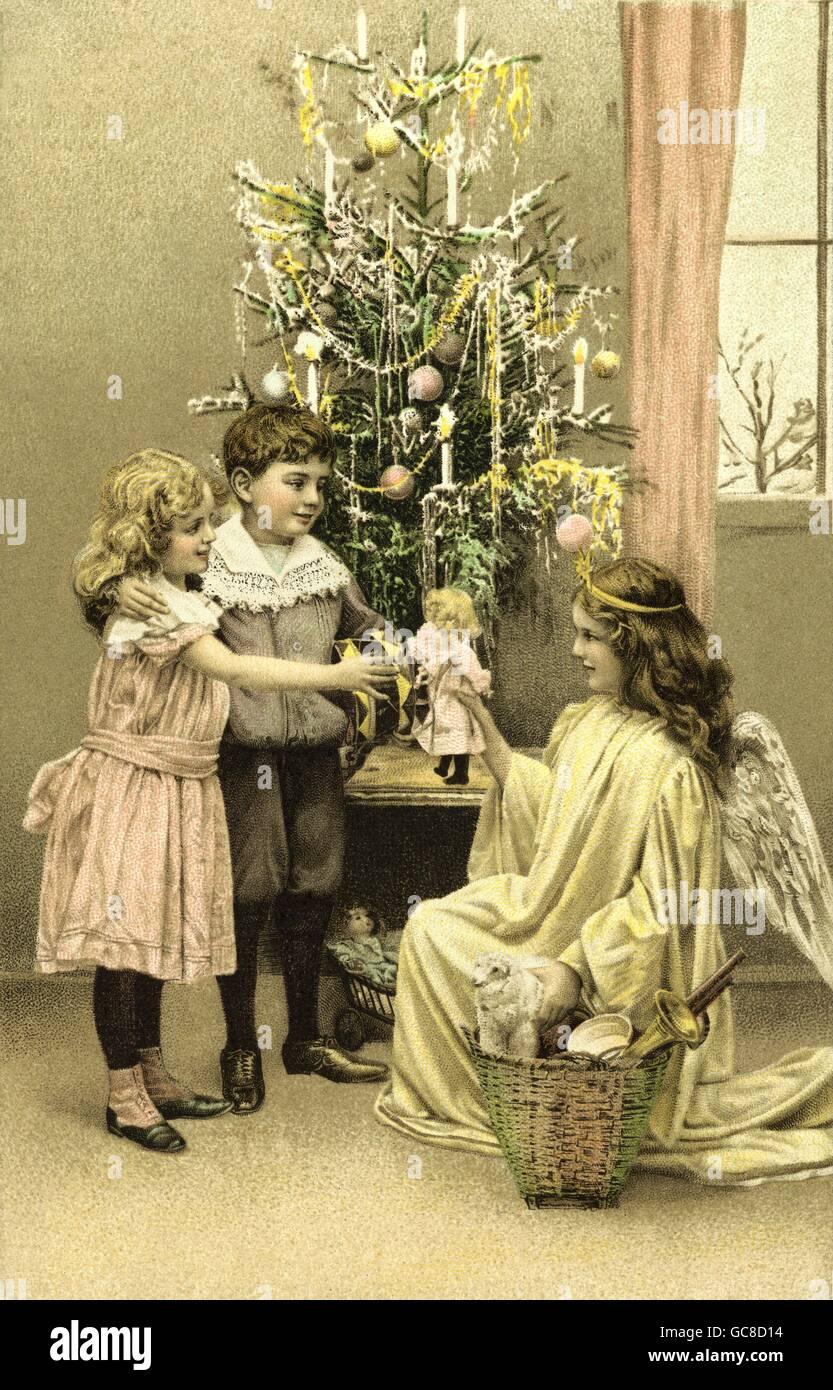 Weihnachtsgrüße Christkind.Weihnachten Weihnachten Christkind Bringt Geschenke Für Die Kinder