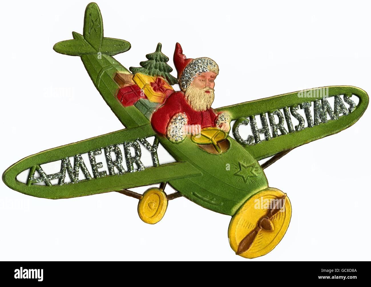 Frohe Weihnachten Flugzeug.Weihnachten Weihnachtsmann Als Pilot Im Flugzeug Frohe