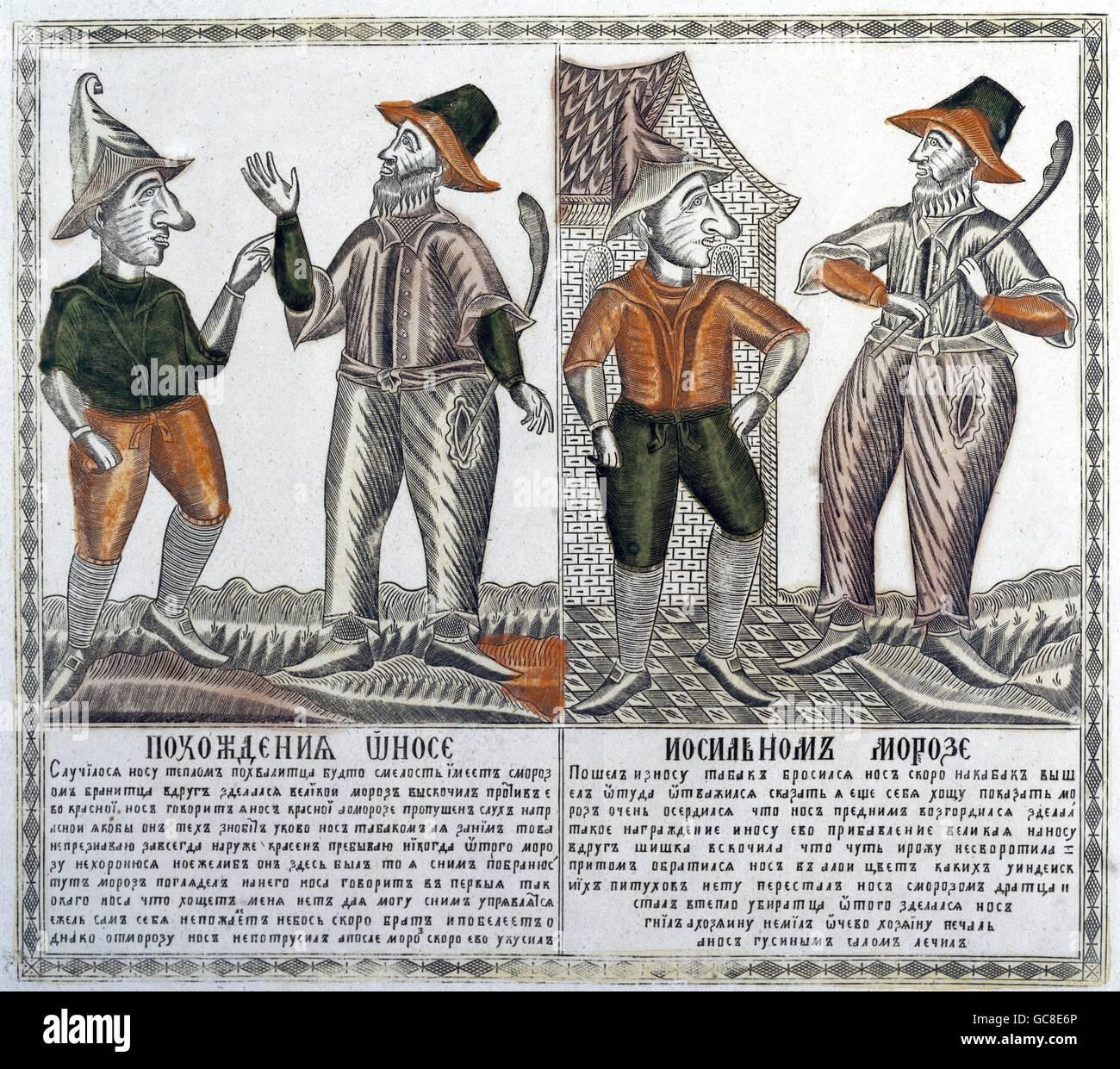 Literatur, Russland, Allegorie, der Nase und dem grimmigen Frost, Kupferstich, 1830-1850, Artist's Urheberrecht Stockbild