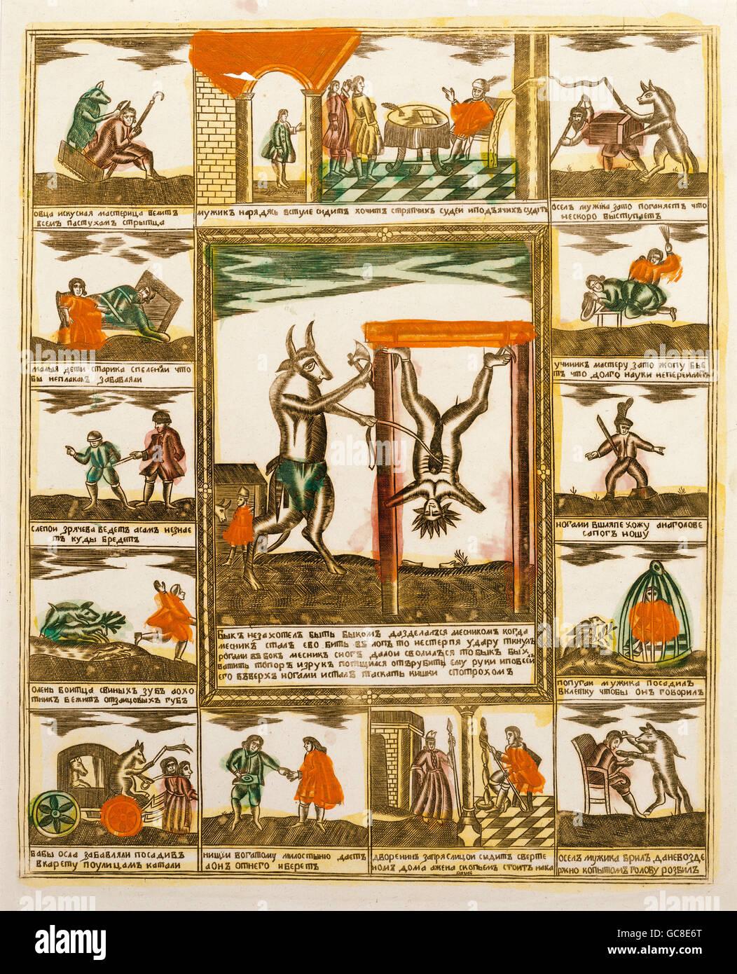 Literatur, Russland, Geschichte über den Ochsen, der wollte einen Ochsen nicht mehr und wurde ein Metzger, Stockbild