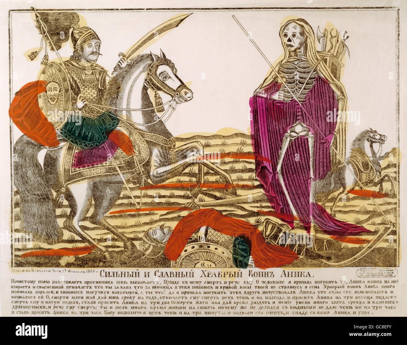 Literatur, Legenden, Russland, der Krieger Anica und dem Tod, Kupferstich, 2. Hälfte 19. Jahrhundert, Staatliches Stockbild