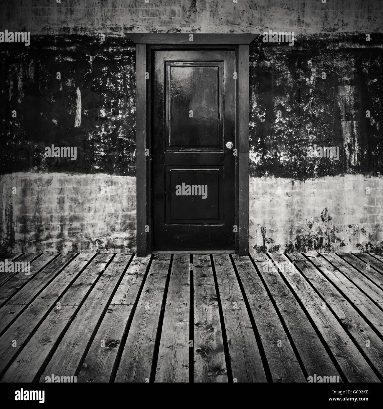 Abstrakte Leeren Dunklen Raum Innen Hintergrund Mit Grauen Holzboden